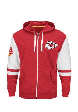 the latest fc845 bf688 KC Chiefs Mens Red Hooded Fleece Zip Sweatshirt | Kansas ...