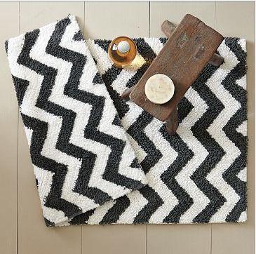 Chevron Bath Rugs Home Pinterest Bath Rugs And Bath - Black and white harlequin bath mat for bathroom decorating ideas