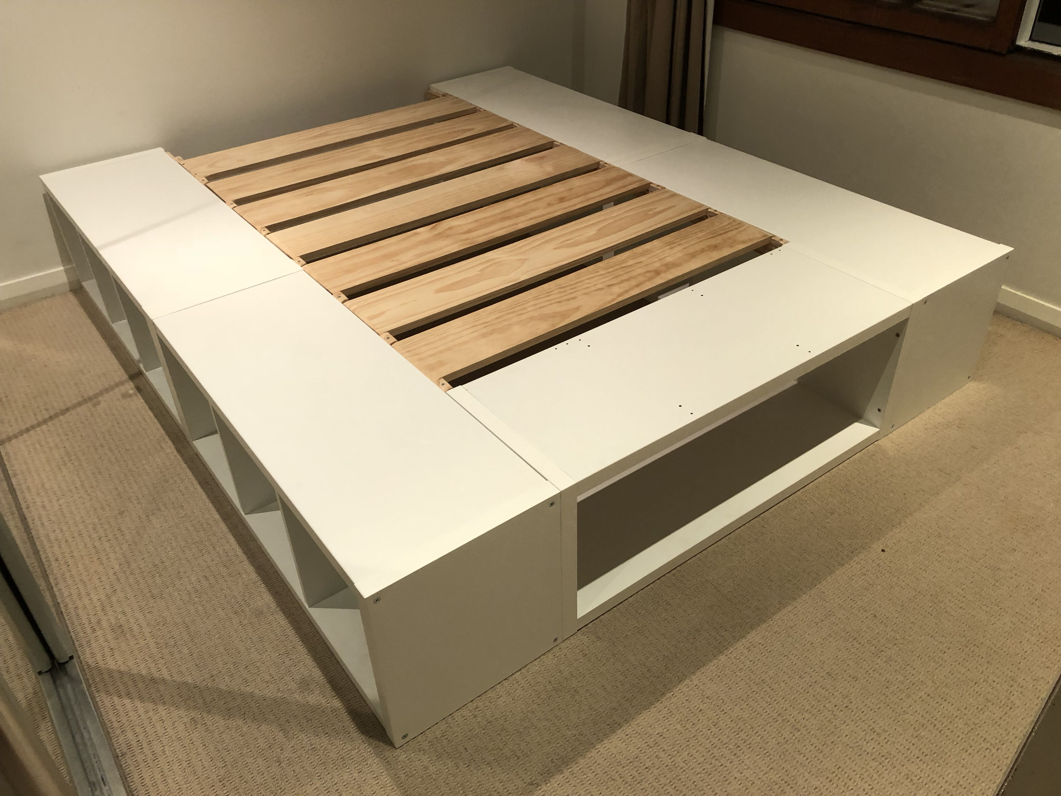 "My IKEA Kallax ""hack""   king size bed frame using 5x 4x1 Kallax"