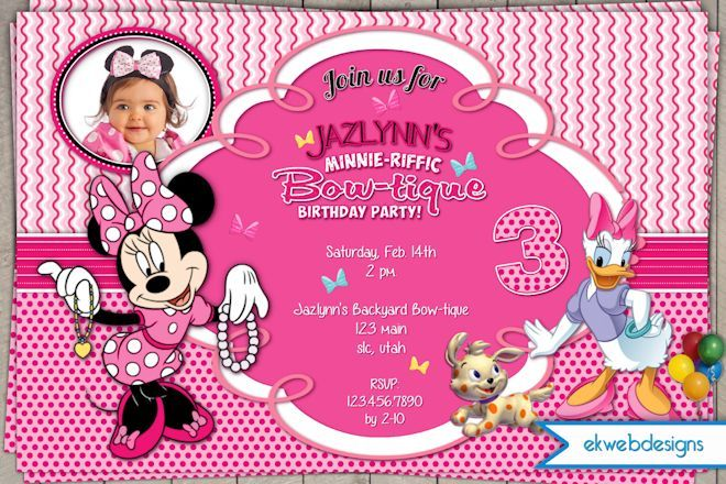 Minnie Birthday Invitation, Minnie's Bow-tique Mouse Invitation