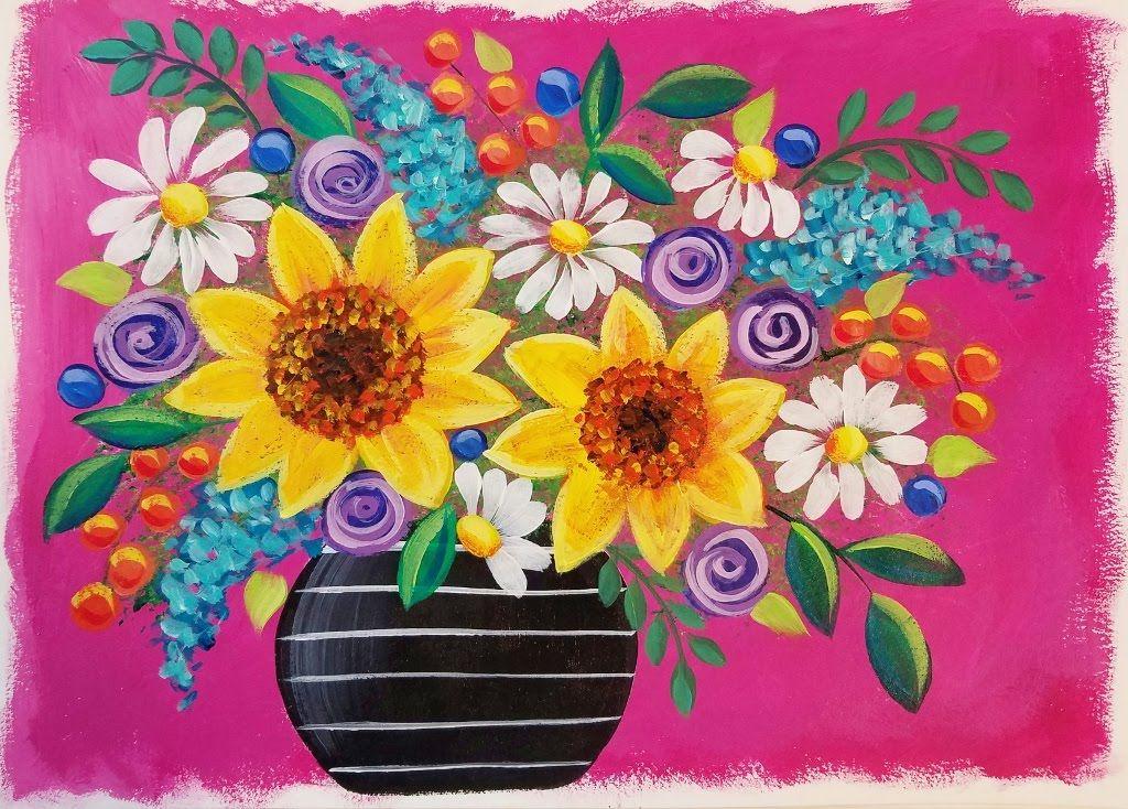 Easy Sunflowers Daisies Live Beginner Acrylic Painting Lesson Boho Flower Vase Series Daisy Painting Flower Painting Flower Art