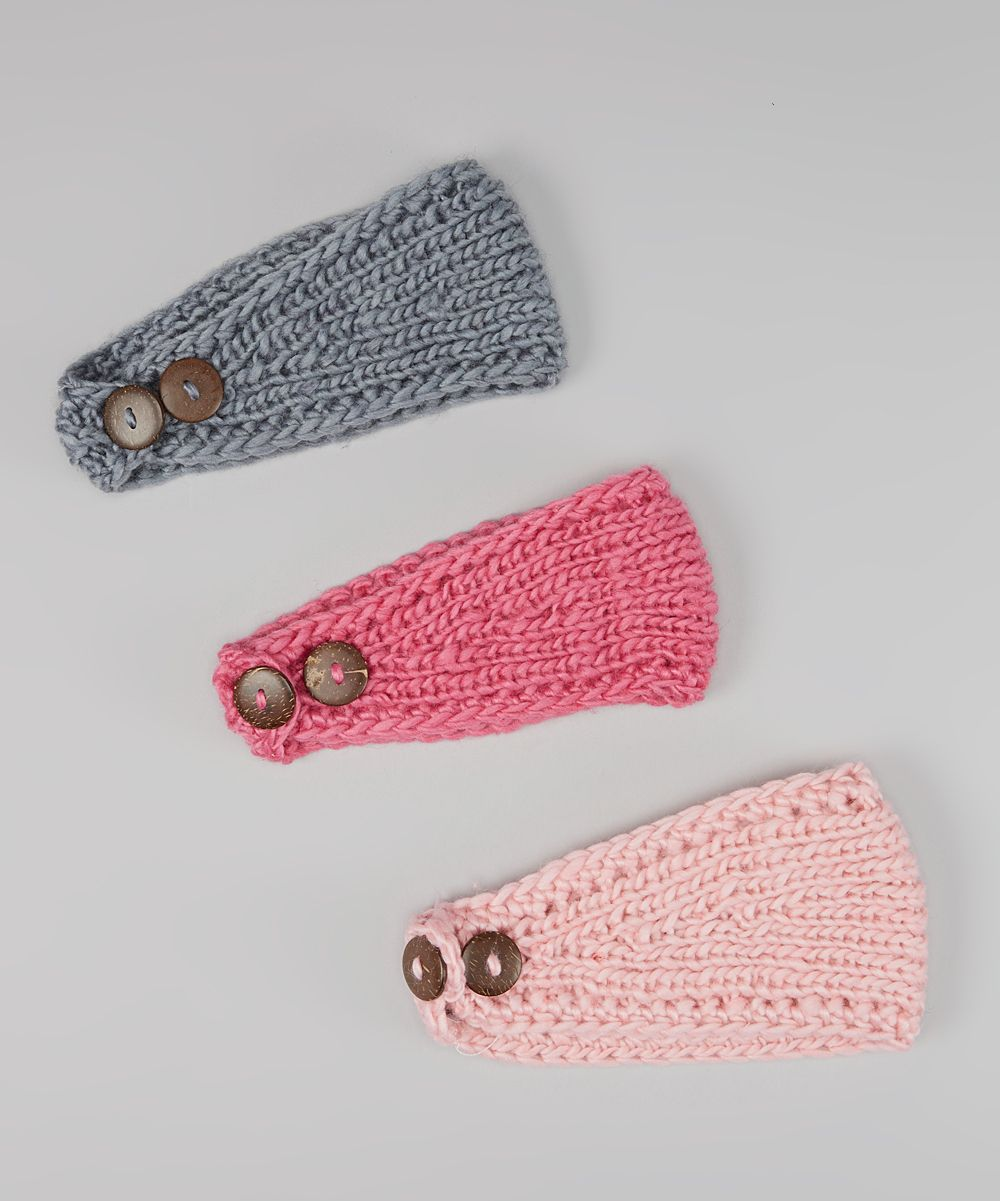 Pink, Rose & Gray Crocheted Headband Set | Crochet Patterns ...