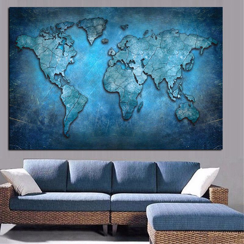 Big abstract 3d world map canvas painting modern poster home decor big abstract 3d world map canvas painting modern poster home decor 100 x 160 cm gumiabroncs Gallery