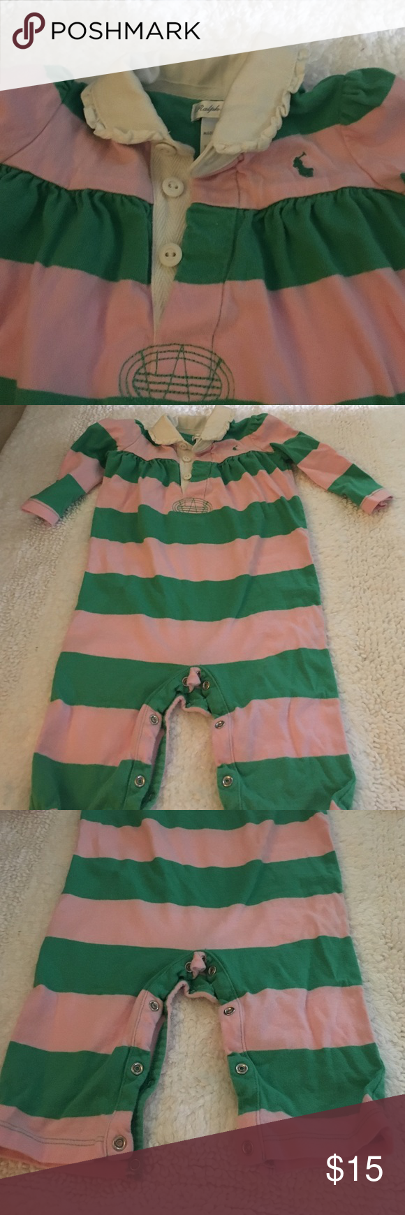 🎉New Listing🎉 Ralph Lauren Romper Beautiful baby girl light pink and green romper.  Has a collar, 3 buttons, long sleeves and bottom snaps for a quick change.  9 months. EUC. 💞check out my other listings and save on bundles. 💞 Ralph Lauren One Pieces Bodysuits