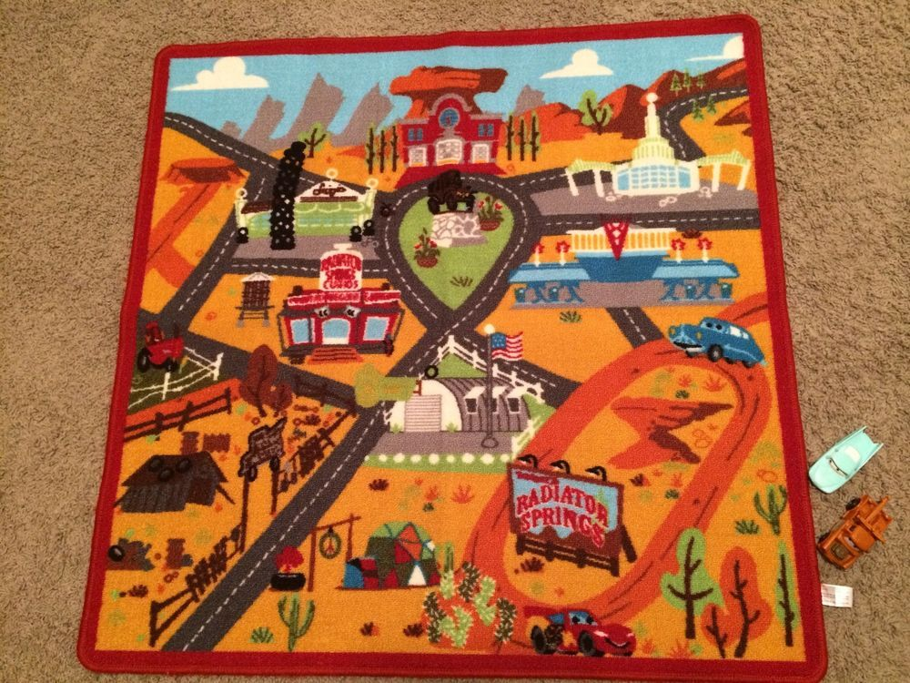 Disney Cars Radiator Springs Carpet Activity Rug With Two Cars #Disney