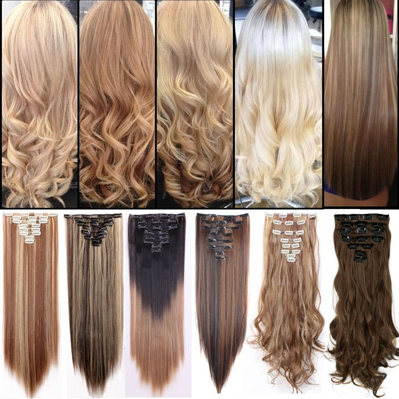 Details About 100 Natural Clip In Hair Extensions Long Straight