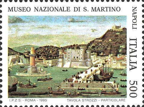 """1995 - """"Tesori dei musei nazionali"""":Museo Nazionale di S. Martino - Napoli - particolare della tavola Strozzi raffigurante il Porto di Napoli"""