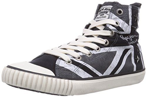 Pepe Damen Sneakers Schwarz Industry Jeans Hohe London Flag gIqIwrB