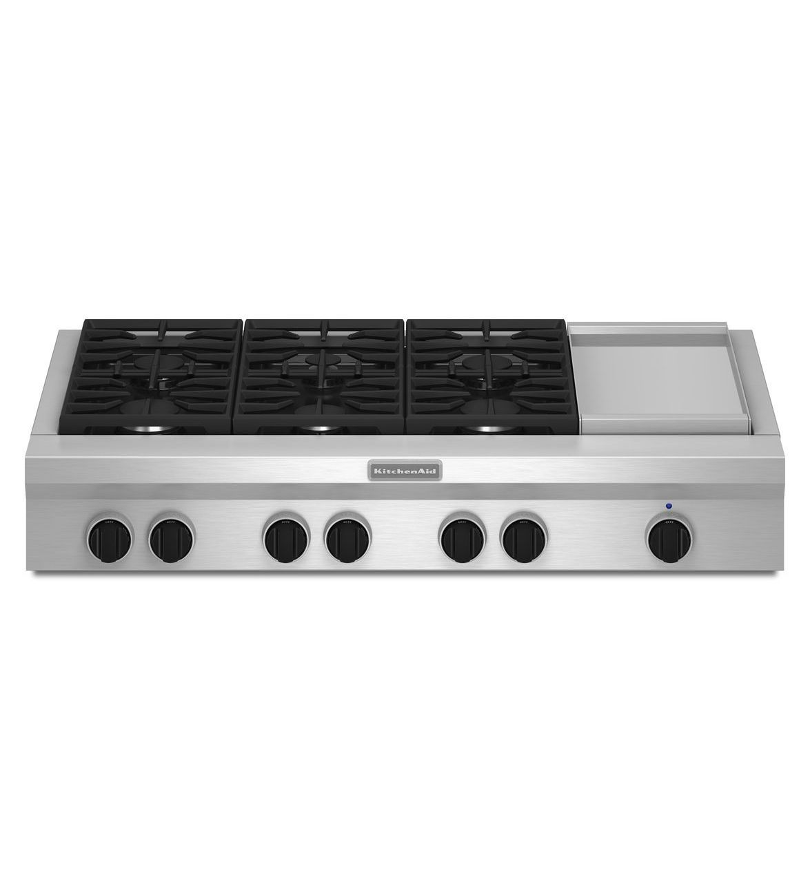 48 Inch 6 Burner With Griddle Gas Rangetop Commercial Style Kgcu483vss Kitchenaid Gas Cooktop Kitchen Aid Cooktop