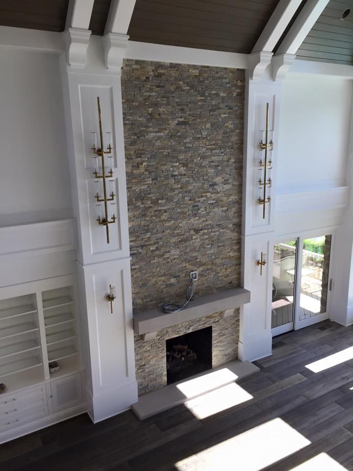 Dramatic 2 Story Stacked Stone Fireplace Macklin Design With