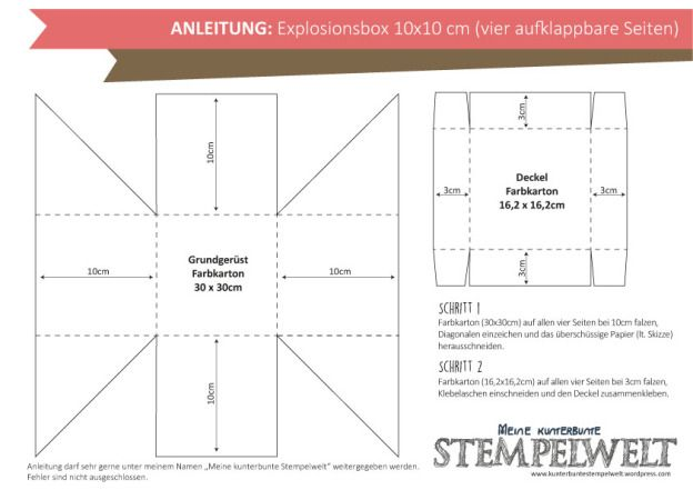 Anleitung_Explosionsbox 10x10 (vier aufklappbare Seiten) #geschenkboxbasteln