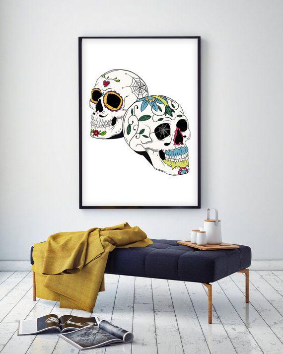 Printable Sugar Skulls Wall Art Poster by HappilyEverPrintable #printableposter #decoration #interior #poster #minimal   #decor #wallart #etsy #inspiring #livingroomdecor #livingroom #kitchendecor  #inspire   #geometric #watercolor #illustration #handmade #fashion   #fashionillustration #scandinavianposter #blackandwhite #typography #animal #nursery #nurserydecor #homedecor #homedecoration #diy #decor #interiordecoration #interiordesign #housedecor #housedecoration #skull #sugarskull
