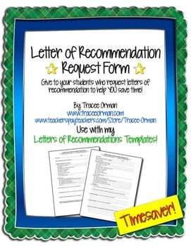 Letter Of Recommendation Request Form  Give This Form To A