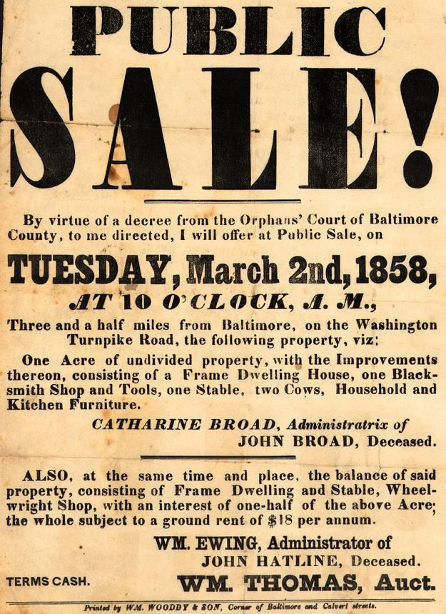 Public Sale Public Baltimore County Vintage Ads