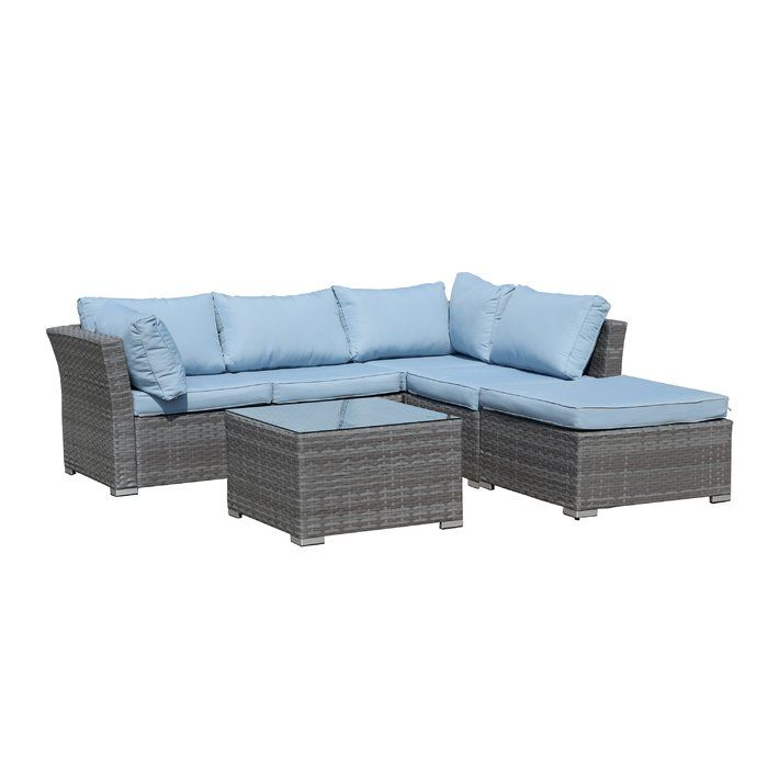 Beachcrest Home Henderson Wicker 5 Piece Sectional Seating Group With  Cushion | Wayfair