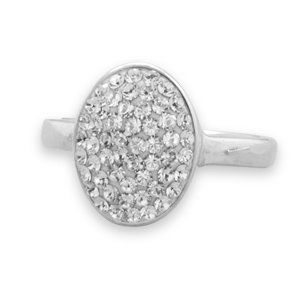 Oval Pave Crystal Ring