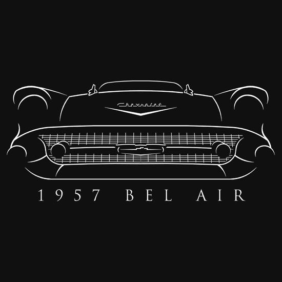 1957 Bel Air Front Stencil White Slim Fit T Shirt Chevy Bel