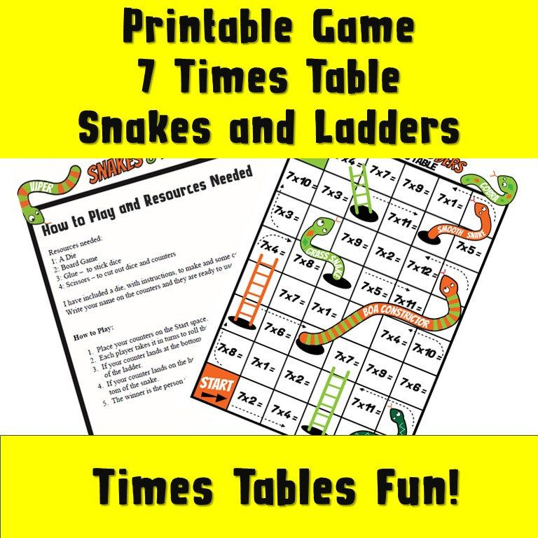 Making Maths more Fun Board Games/ 7 Times Table Printable Snakes ...