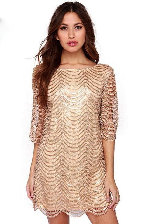6590b70300 Sequin Strand Shift Dress With Sleeves