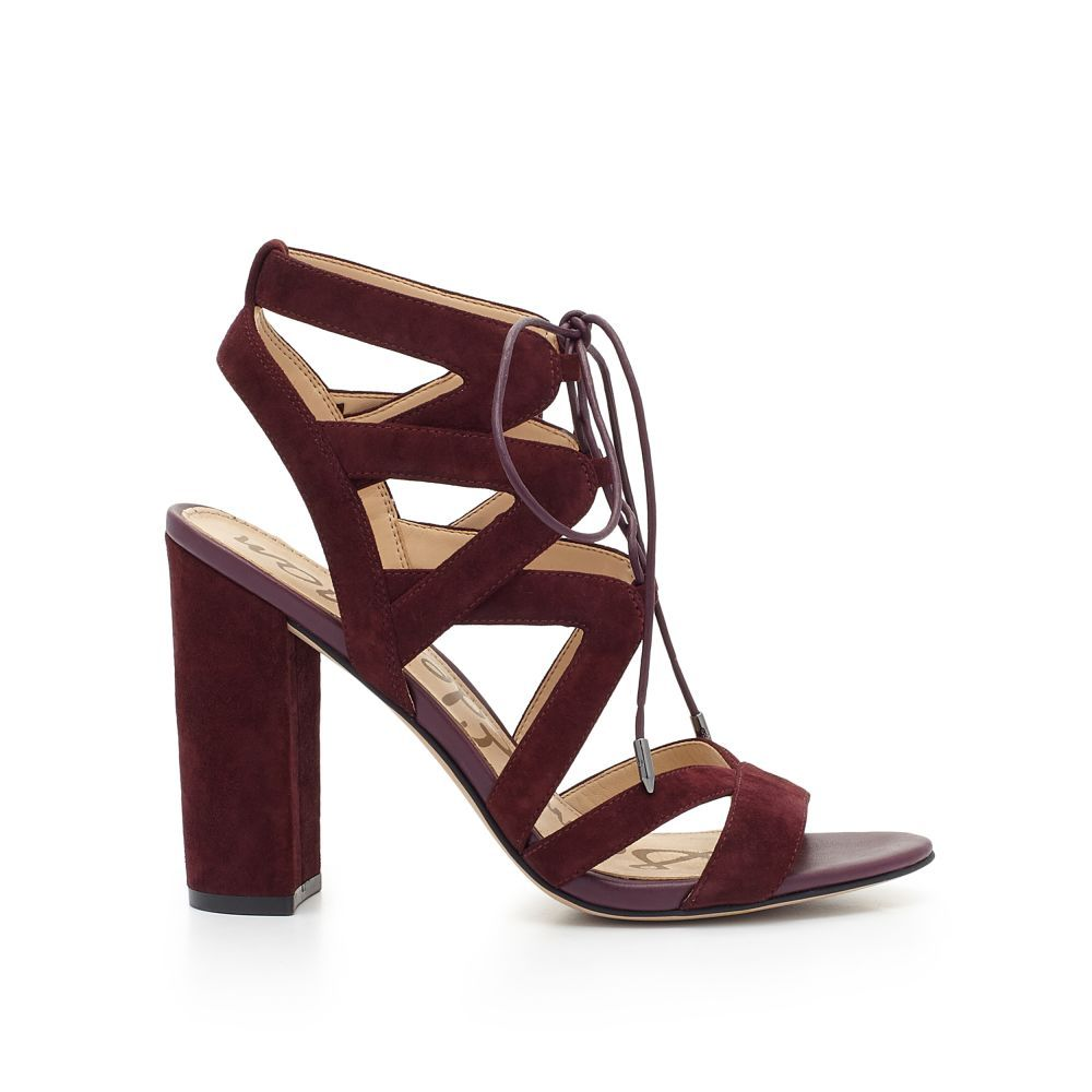 b1b2d1807fbf A Sam Edelman Favorite. Sexy cutout lace-up sandals feature a stacked heel  for day-to-night comfort. Wear the Yardley Lace-Up Heeled Sandal with  distressed ...