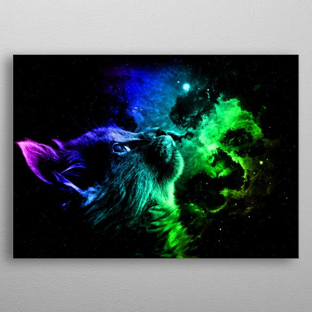 Cat Galaxy Poster made out of metal Fascinating metal poster designed by Displate has a unique and on the back to add to each design