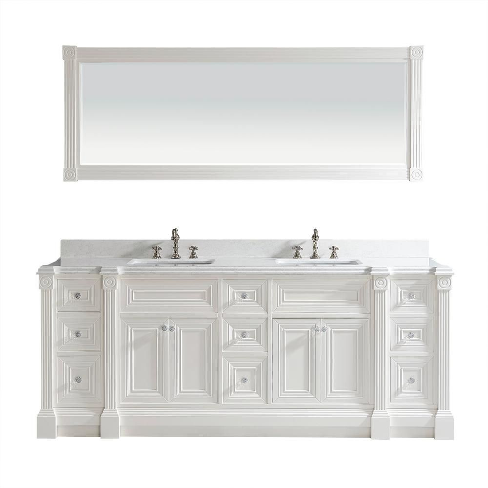 23d5612e9 Studio Bathe Avenue 84 in. W x 23 in. D Vanity in White with Engineered  Solid Surface Vanity Top in White with White Basin and Mirror
