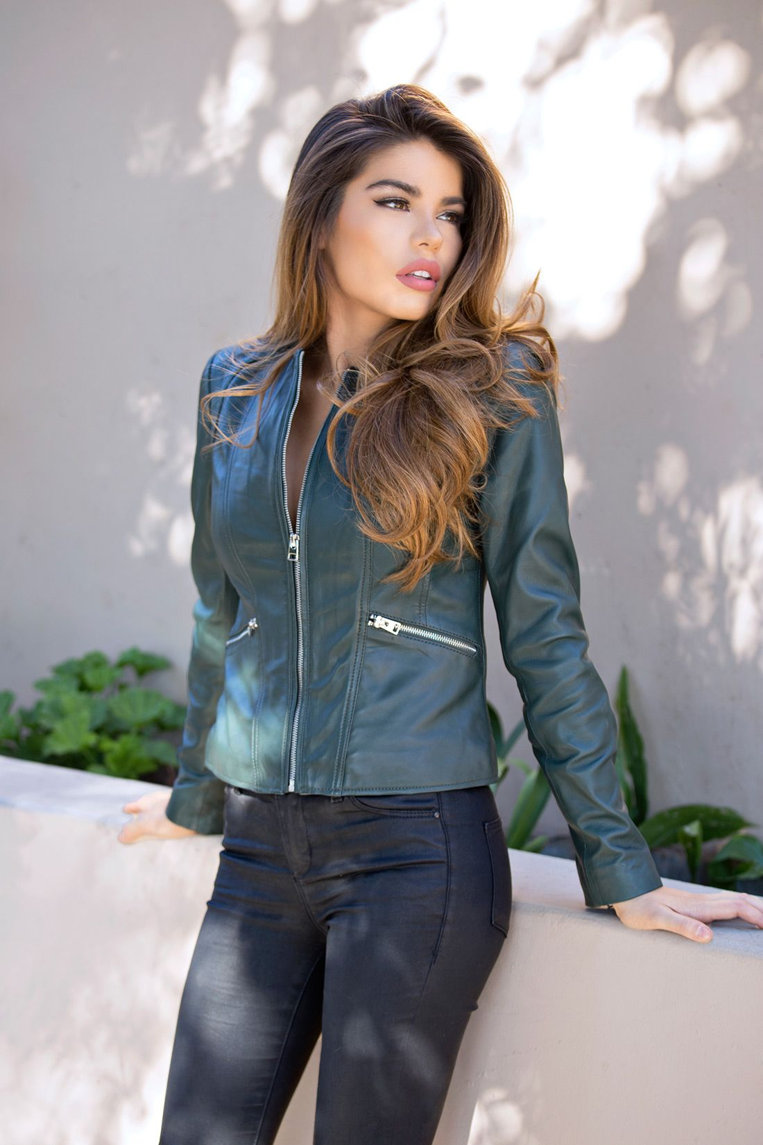 9751f7010 Womens Green Leather Jacket Collarless Round Neck - Soft Lambskin in ...