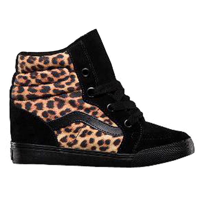 vans femme noire et imprime leopard