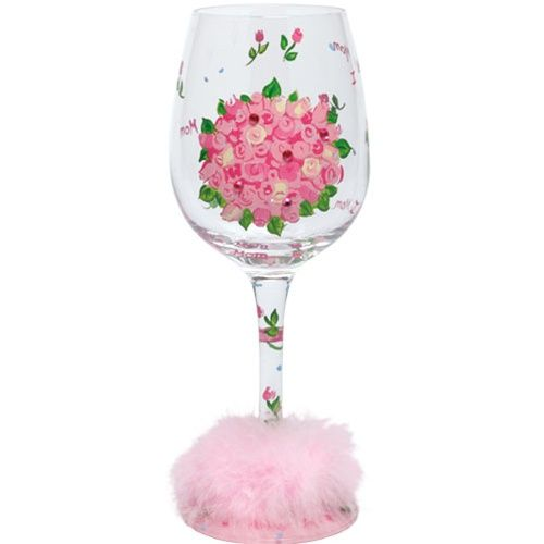 Lolita Hand Painted Wine Glass - Mom's Bouquet