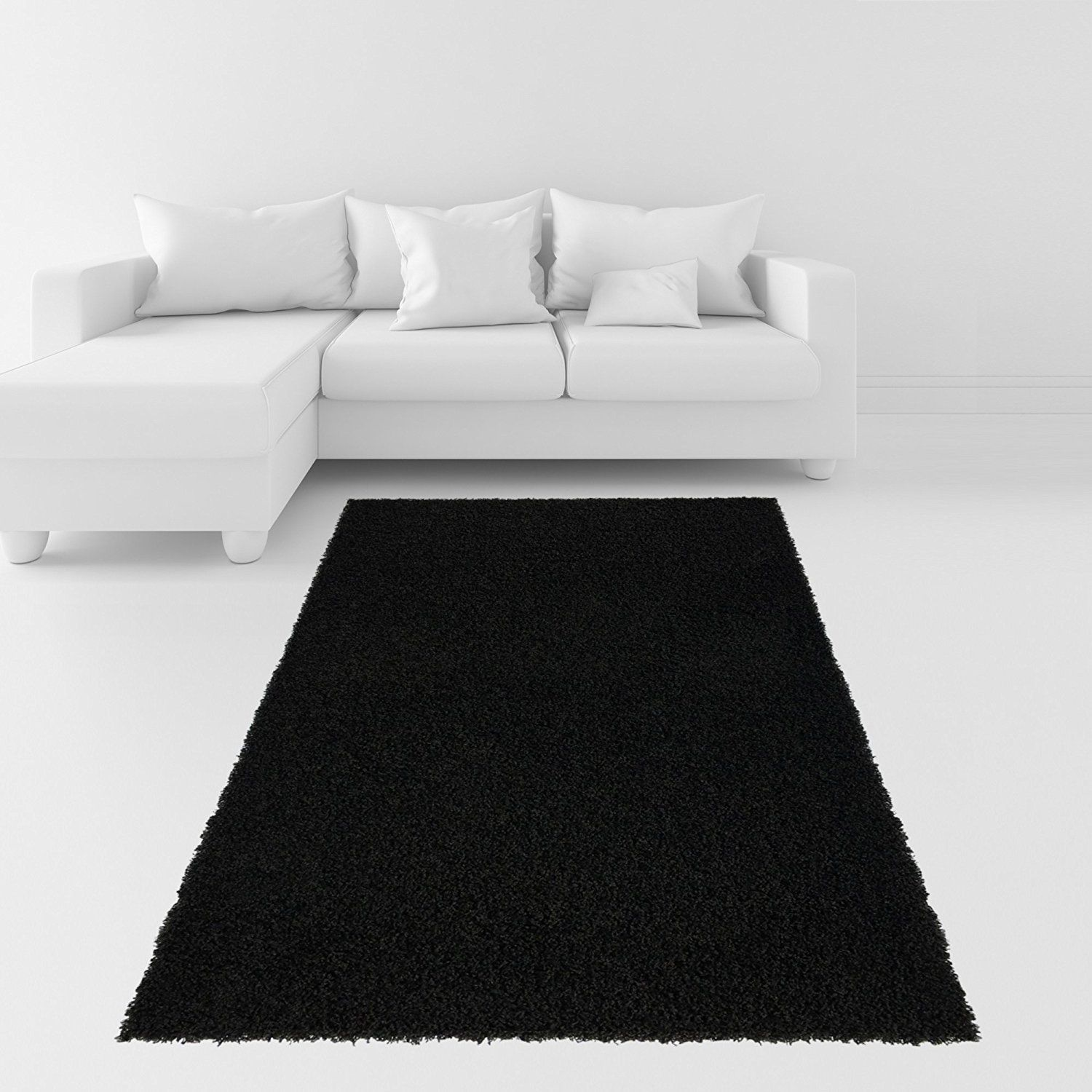 Amazon.com: Soft Shag Area Rug 3x5 Plain Solid Color BLACK ... - photo#10