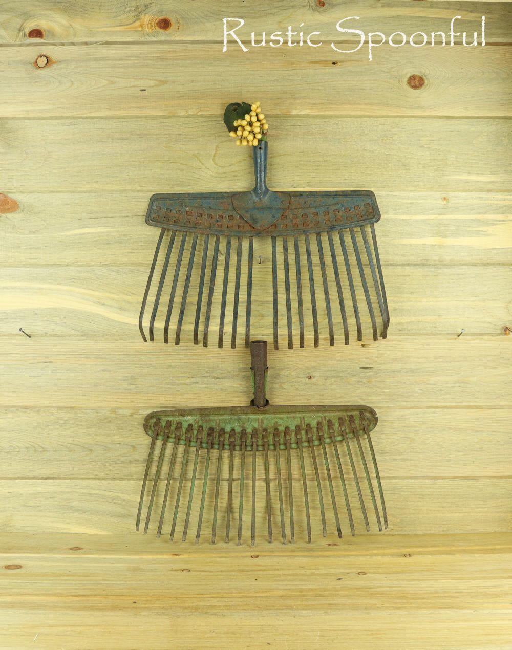 2 Old Broom Rakes, Rake Head, Rustic Home Decor, Rustic Wall Decor ...