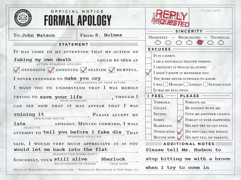 Sherlocku0027s apology letter Lvl 80 Blood Elf Rogue Pinterest - apology letter formal