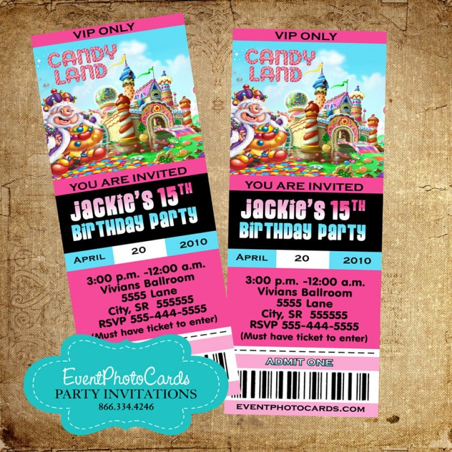 Candyland Ticket Invitations   Birthday For Girls