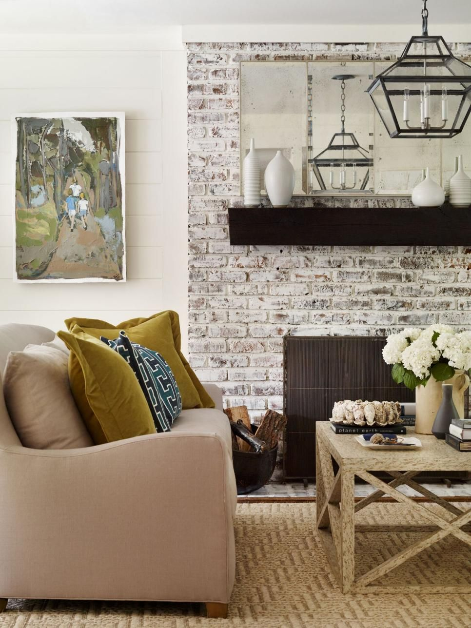This Living Room Features A Whitewashed Fireplace With A
