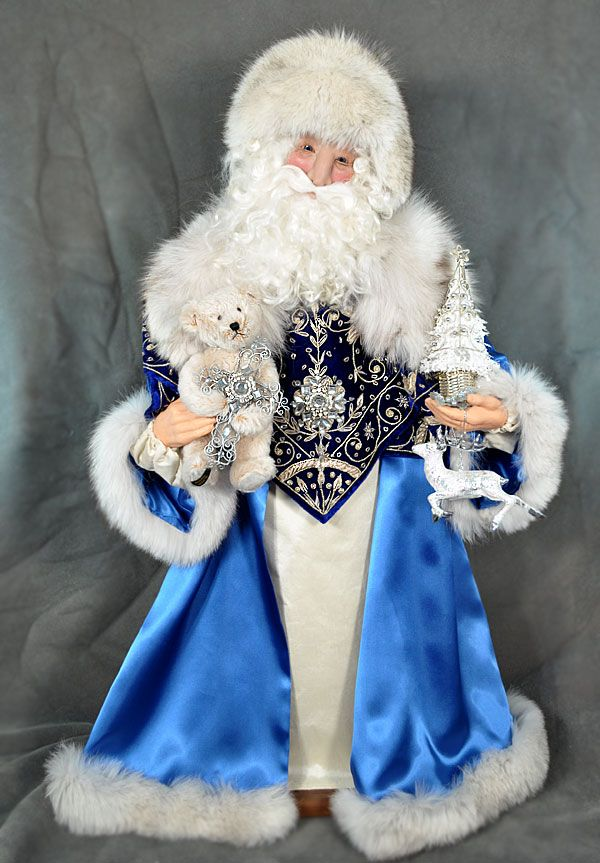Santa Claus Dolls » Blog Archive » Santa in Blue Velvet and Satin by Cynthia