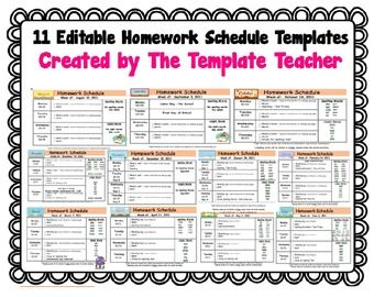 Homework Schedule Templates - Editable for every Month LANDSCAPE ...