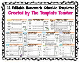 homework schedule template