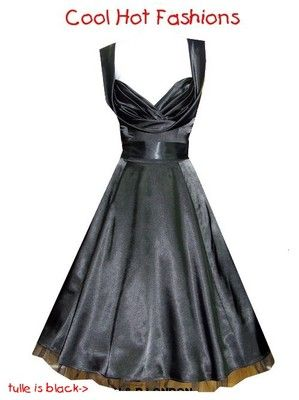 H/&R LONDON RED SATIN COCKTAIL 50s PINUP RETRO VINTAGE PUNK PROM PARTY DRESS