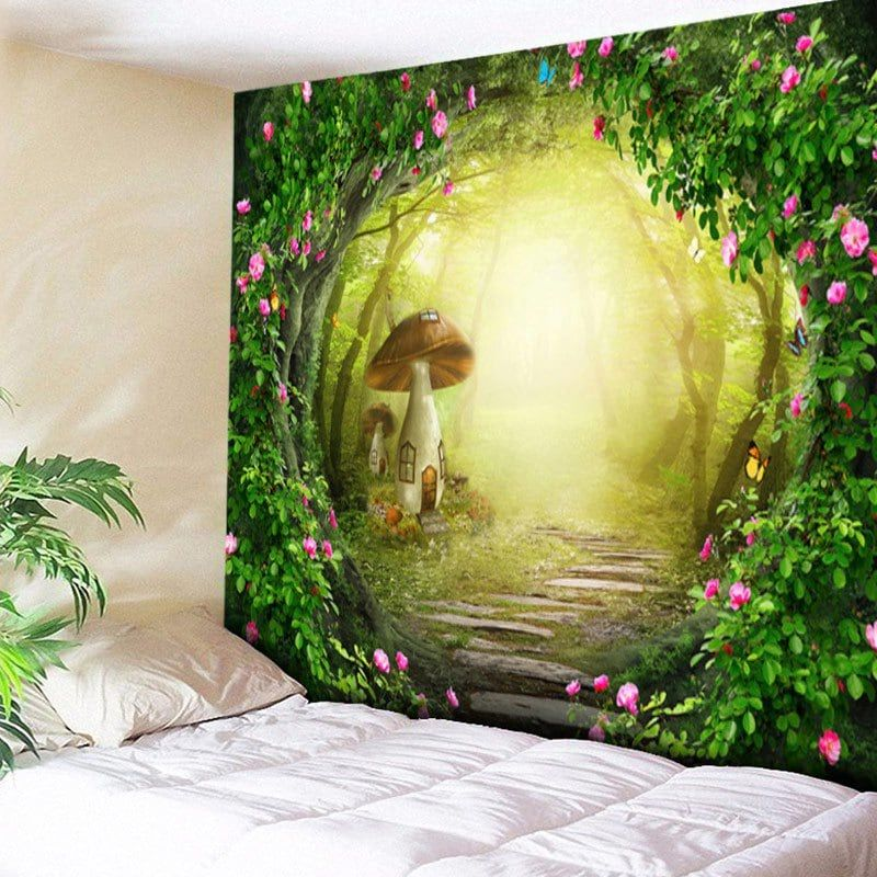 Modern 3D Wall Hanging Tapestry Beach Towel Forest Sunshine Design Home O