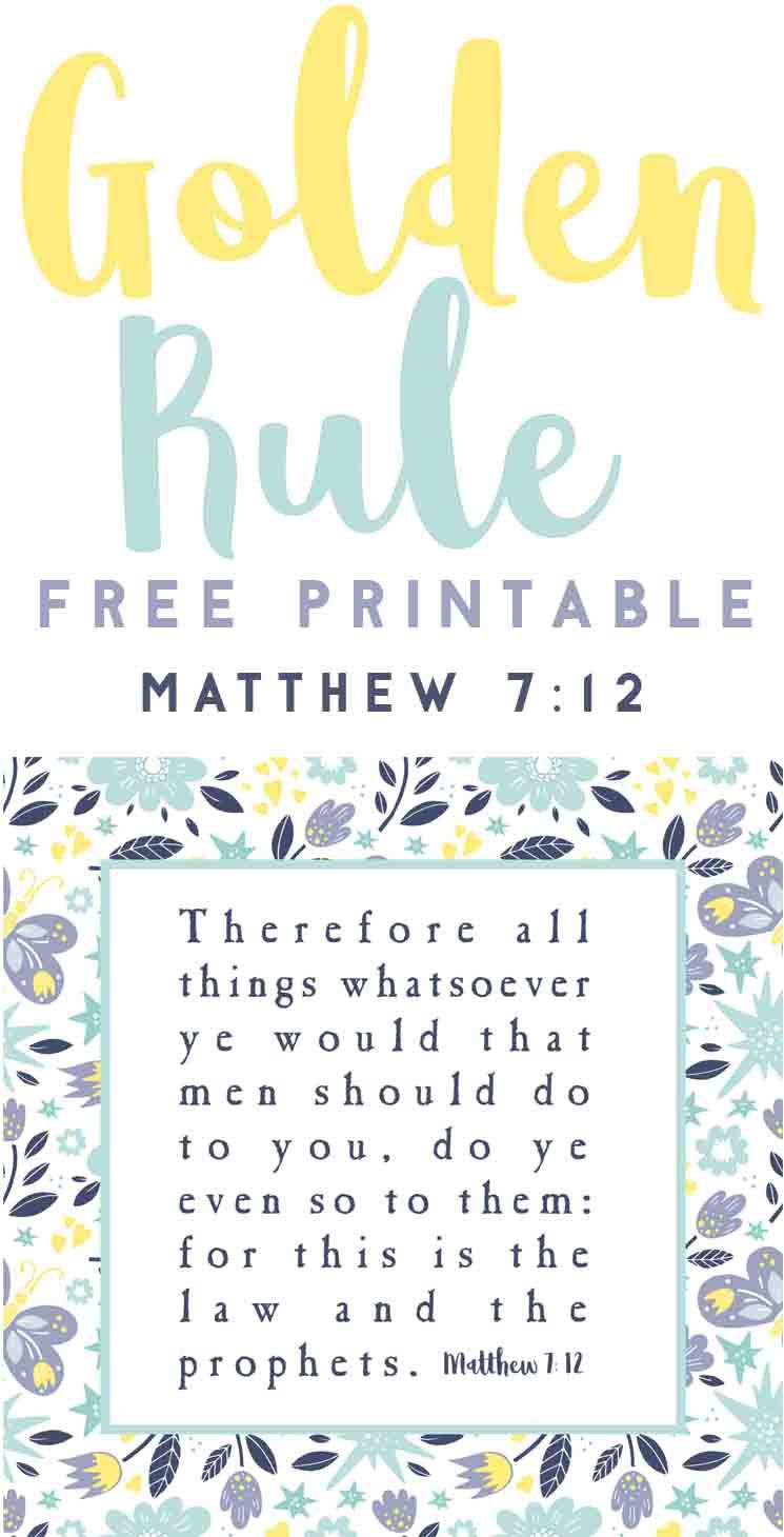 photograph about Golden Rule Printable titled Golden Rule Free of charge Scripture Printable-Bible Printable
