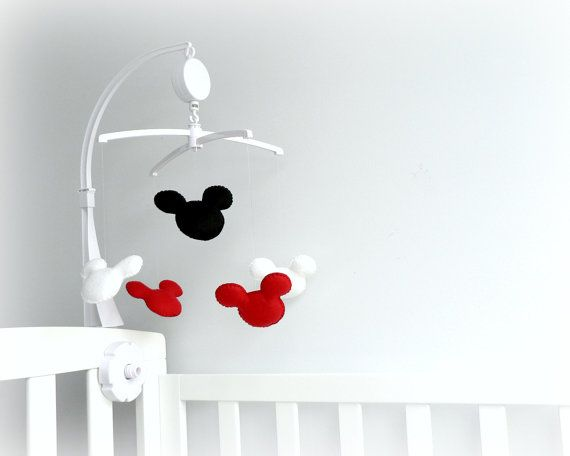 Mickey Mouse Inspired Musical Mobile With Crib Arm Attachment And Rotating Music Box Red White Black Nurs Baby Mobile Arm Mickey Mouse Nursery Baby Cribs