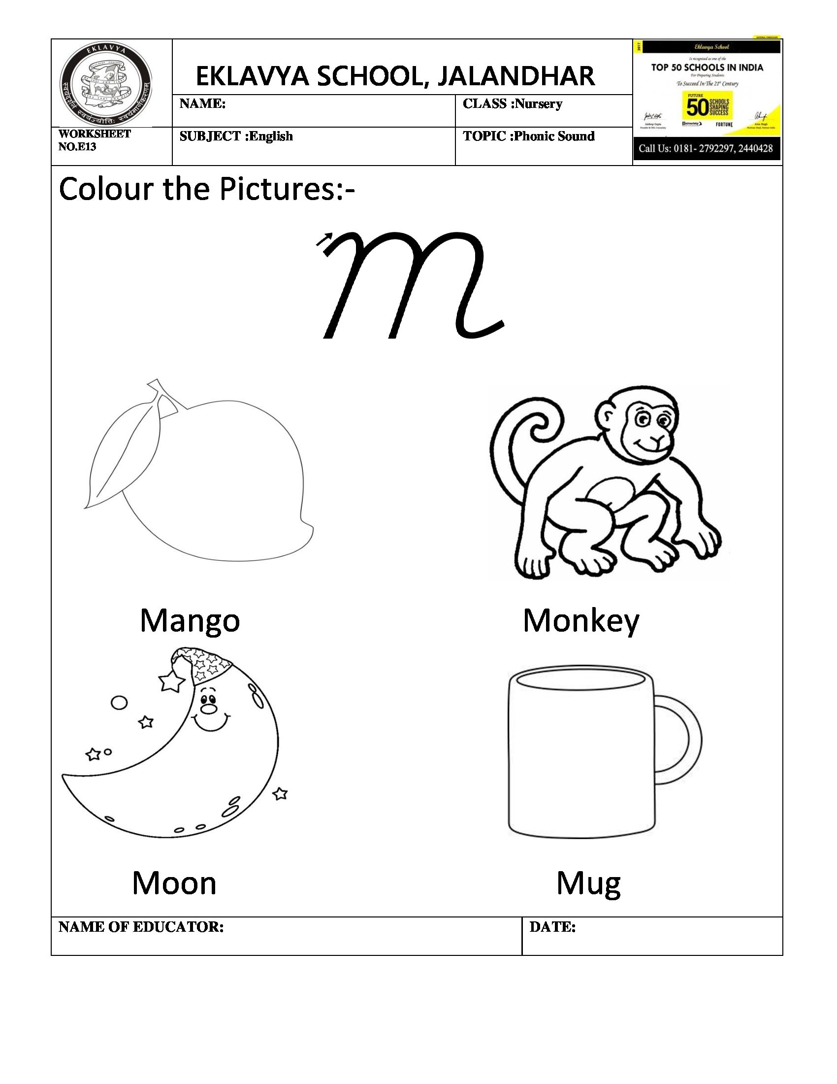 Worksheet on phonic sound ' m ' Phonics sounds, India