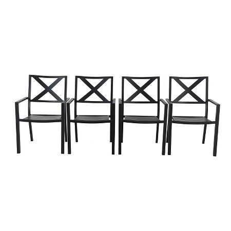 Afton 4 Pack Metal Stack Patio Chair Black - Threshold™  sc 1 st  Pinterest : threshold patio chairs - Cheerinfomania.Com