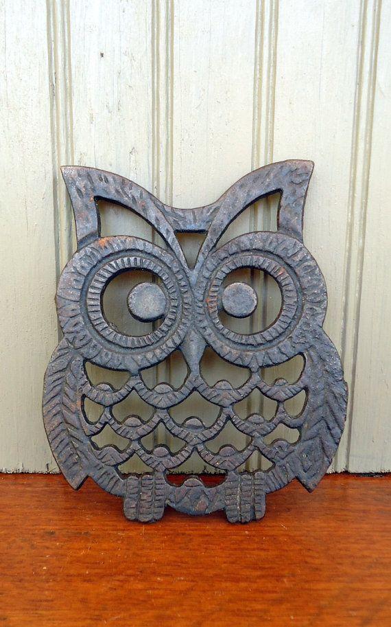 Vintage Owl Trivet Cast Iron Black Metal Retro Home