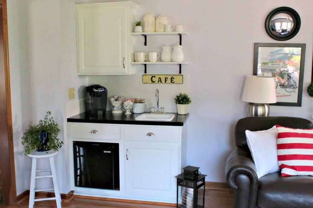 diy farmhouse beverage bar  bar drinks kitchen design