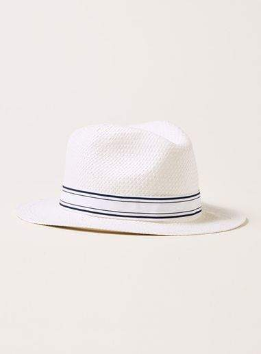 148e720a9 Topman Mens White Straw Fedora Hat | Straw fedora, Fedoras and Products