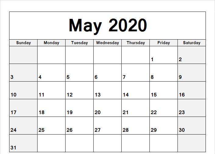 May Printable Calendar 2020.May 2020 Calendar Word May Calendar Printable Printable