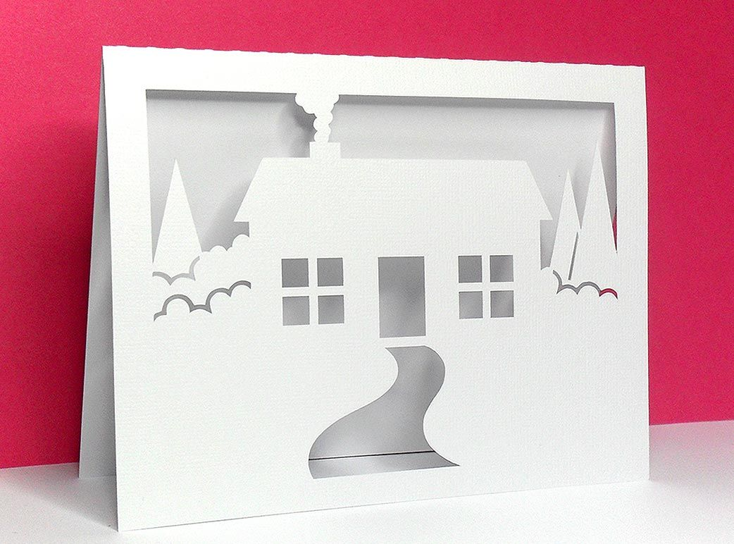 Home park design bilder house scene card with free svg cut file from birdus cards  kirigami