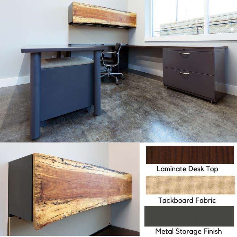 U Shape Wood Office Desk Green Clean Designs Industrial Style Kc