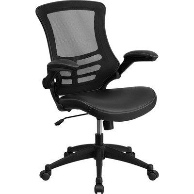 BUY NOW Flash Furniture BL-X-5M-LEA-GG Mid-Back Mesh Chair with Leather Seat and Nylon Base, Black This ergonomically contoured chair will give you